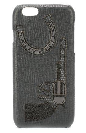 Кожаный чехол для iPhone 6/6S с аппликацией Dolce & Gabbana  | Фото №1