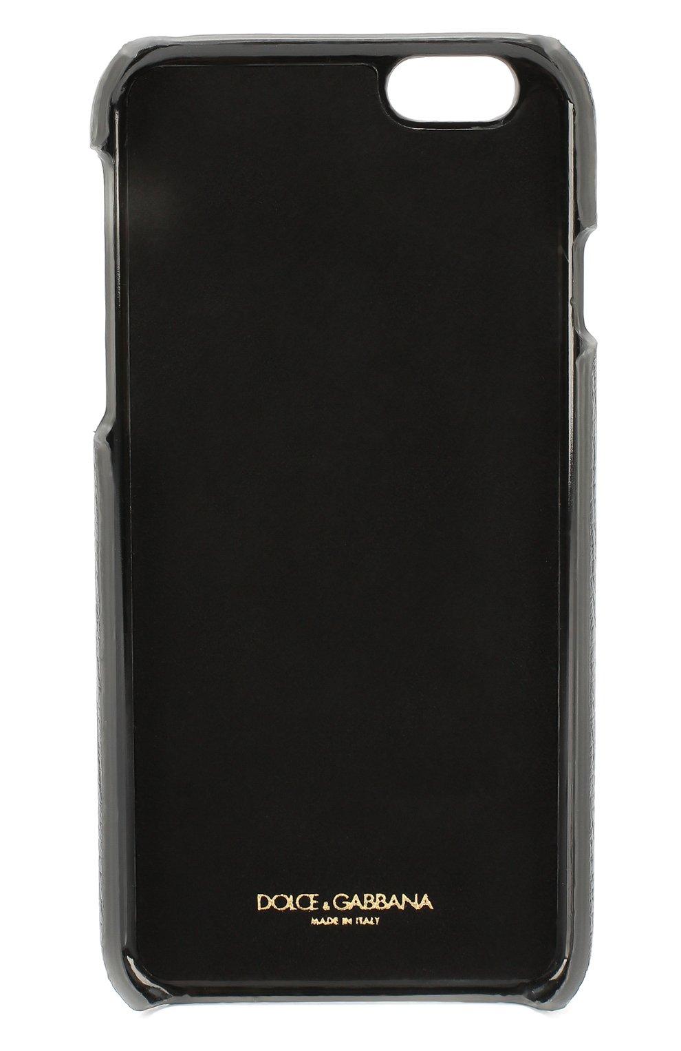Кожаный чехол для iPhone 6/6S с аппликацией Dolce & Gabbana  | Фото №2