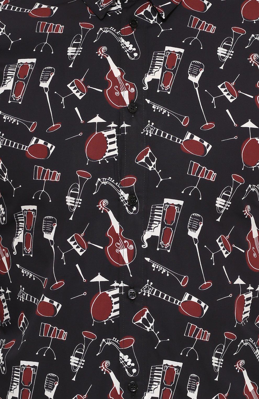 Хлопковая рубашка с принтом Dolce & Gabbana черная | Фото №5