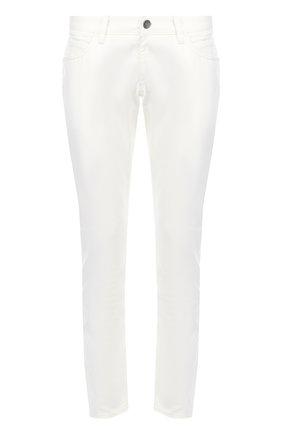 Зауженные джинсы с вышивкой на заднем кармане Dolce & Gabbana белые | Фото №1