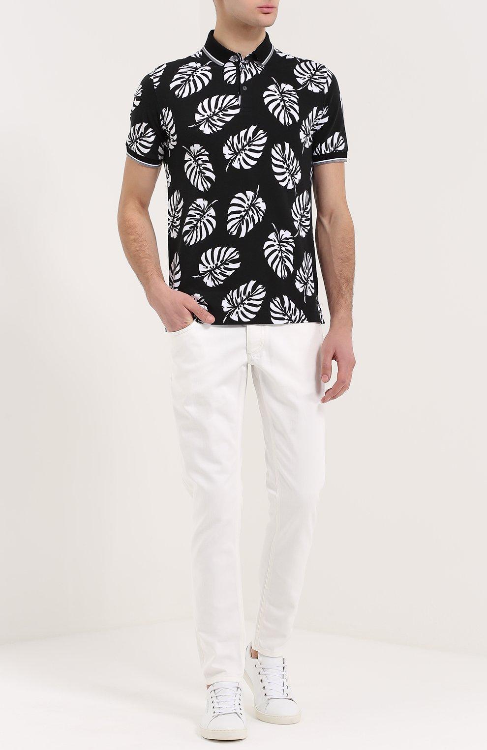 Зауженные джинсы с вышивкой на заднем кармане Dolce & Gabbana белые | Фото №2