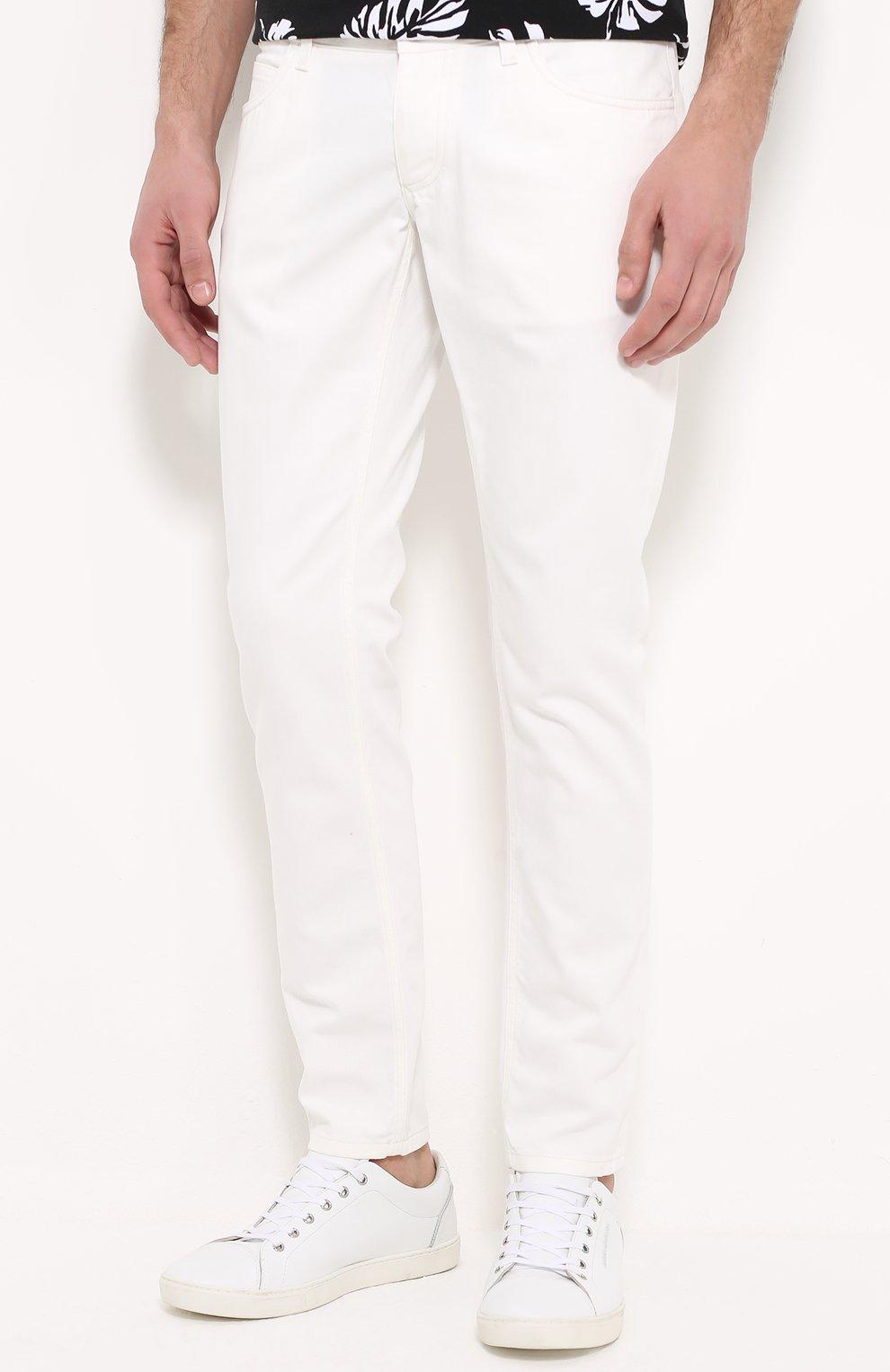 Зауженные джинсы с вышивкой на заднем кармане Dolce & Gabbana белые | Фото №3