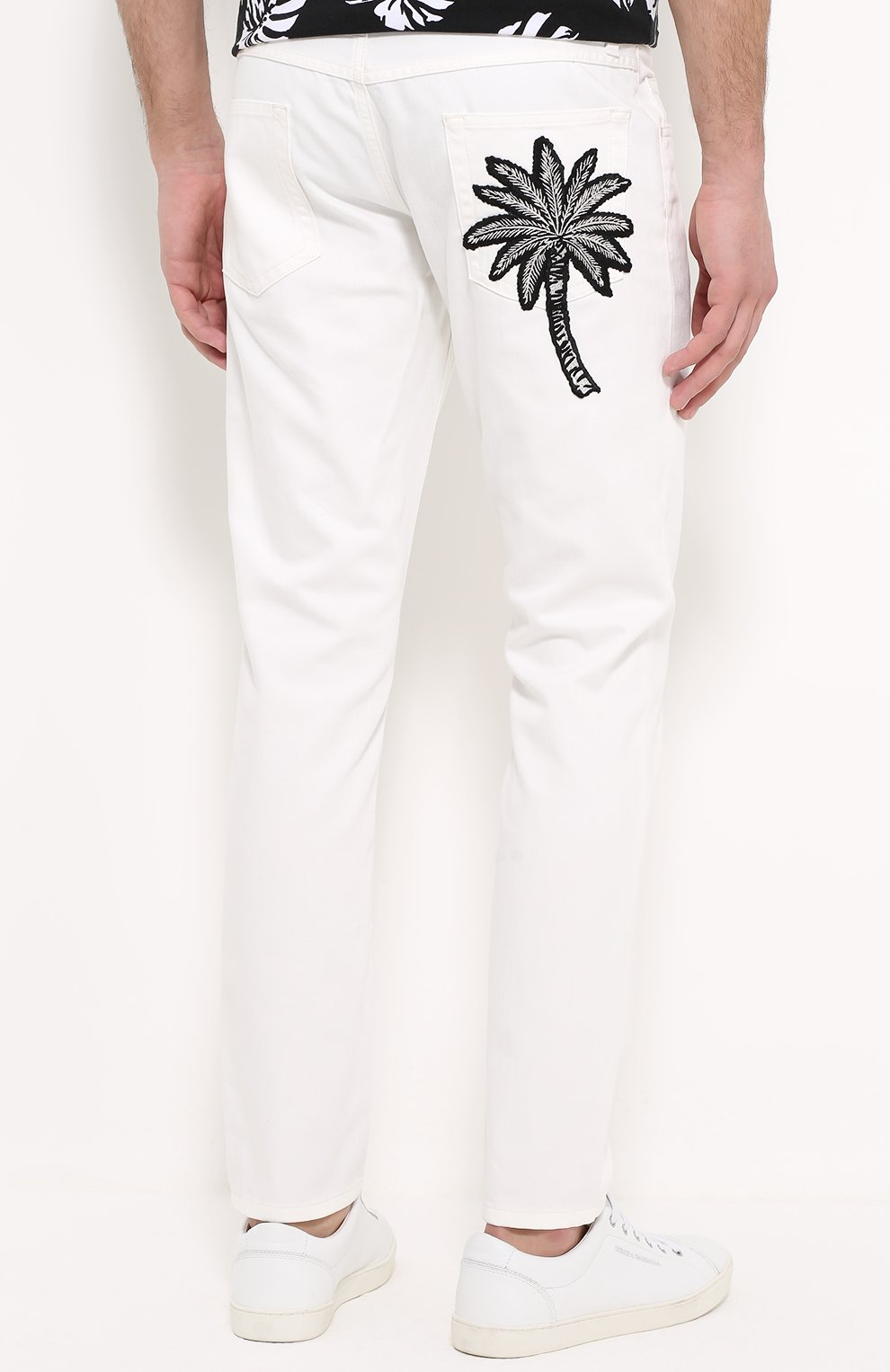 Зауженные джинсы с вышивкой на заднем кармане Dolce & Gabbana белые | Фото №4