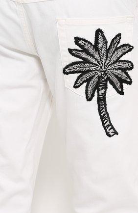Зауженные джинсы с вышивкой на заднем кармане Dolce & Gabbana белые | Фото №5