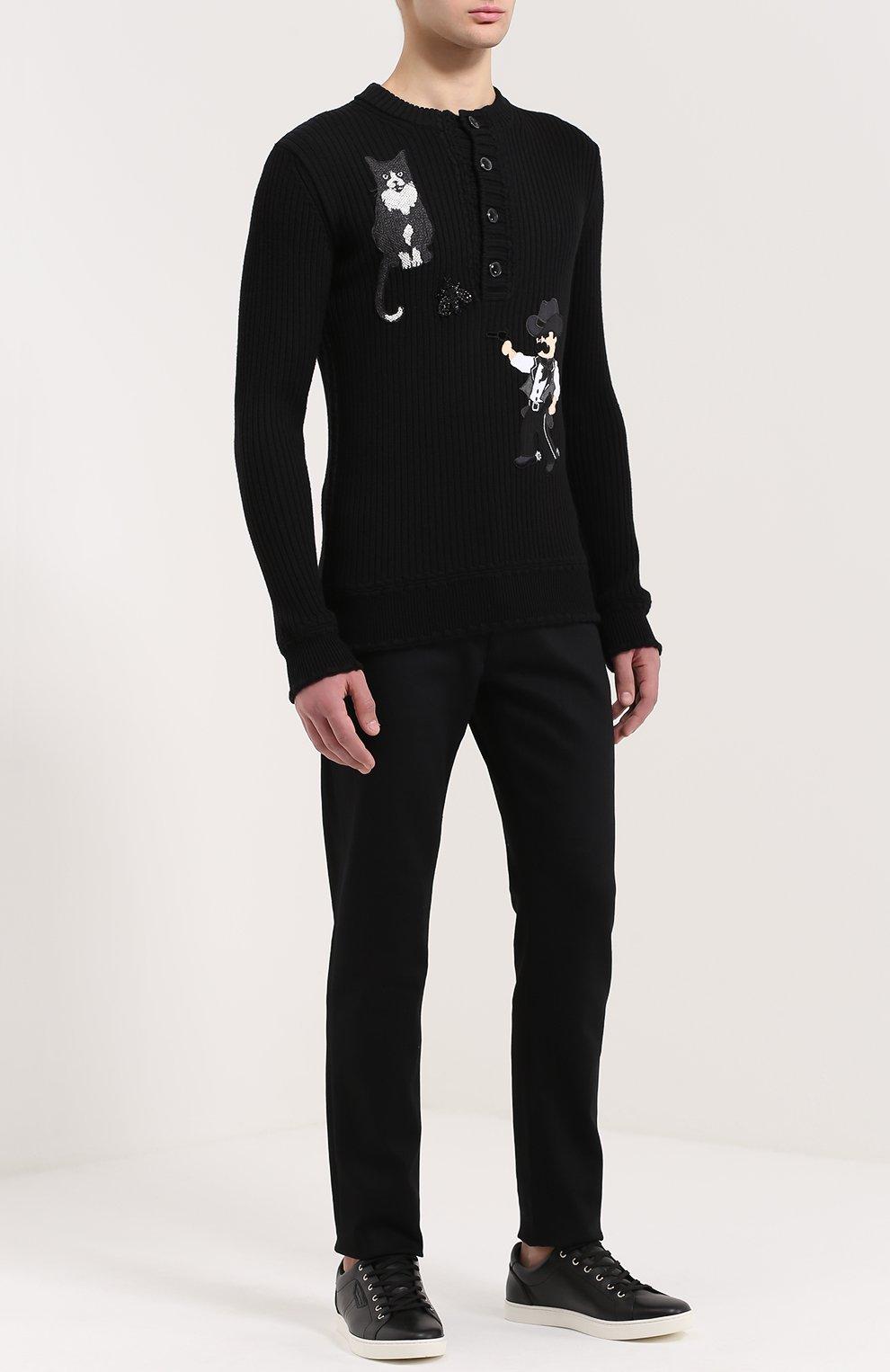 Хлопковые джинсы с заниженной линией шага Dolce & Gabbana черные | Фото №2