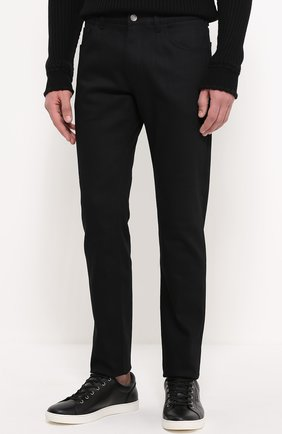 Хлопковые джинсы с заниженной линией шага Dolce & Gabbana черные | Фото №3
