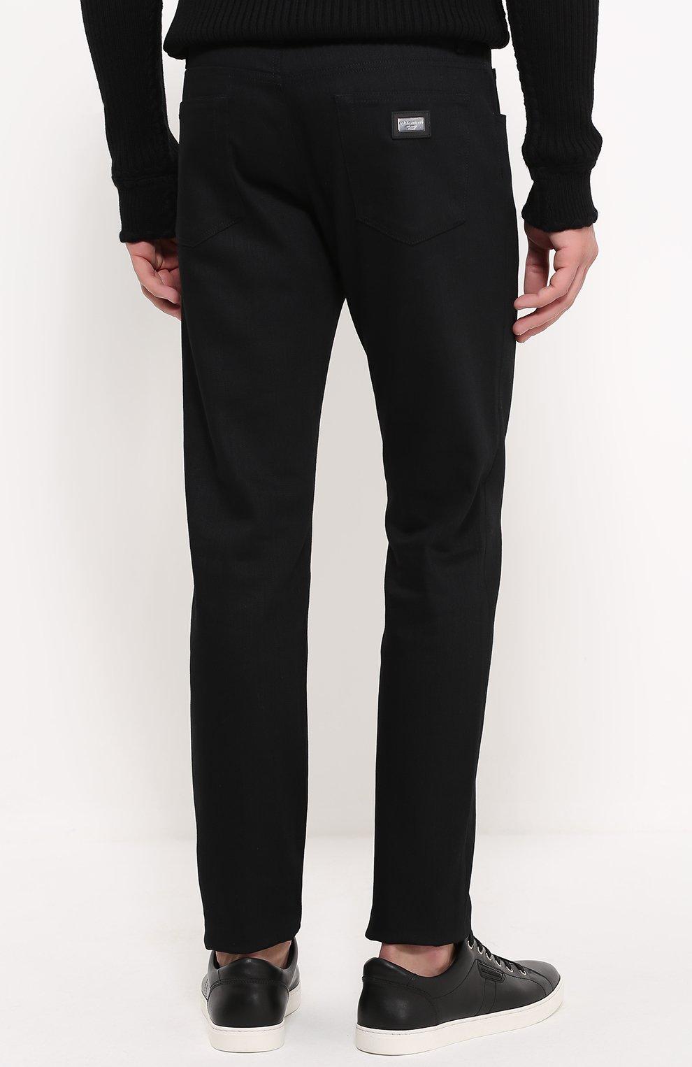 Хлопковые джинсы с заниженной линией шага Dolce & Gabbana черные | Фото №4