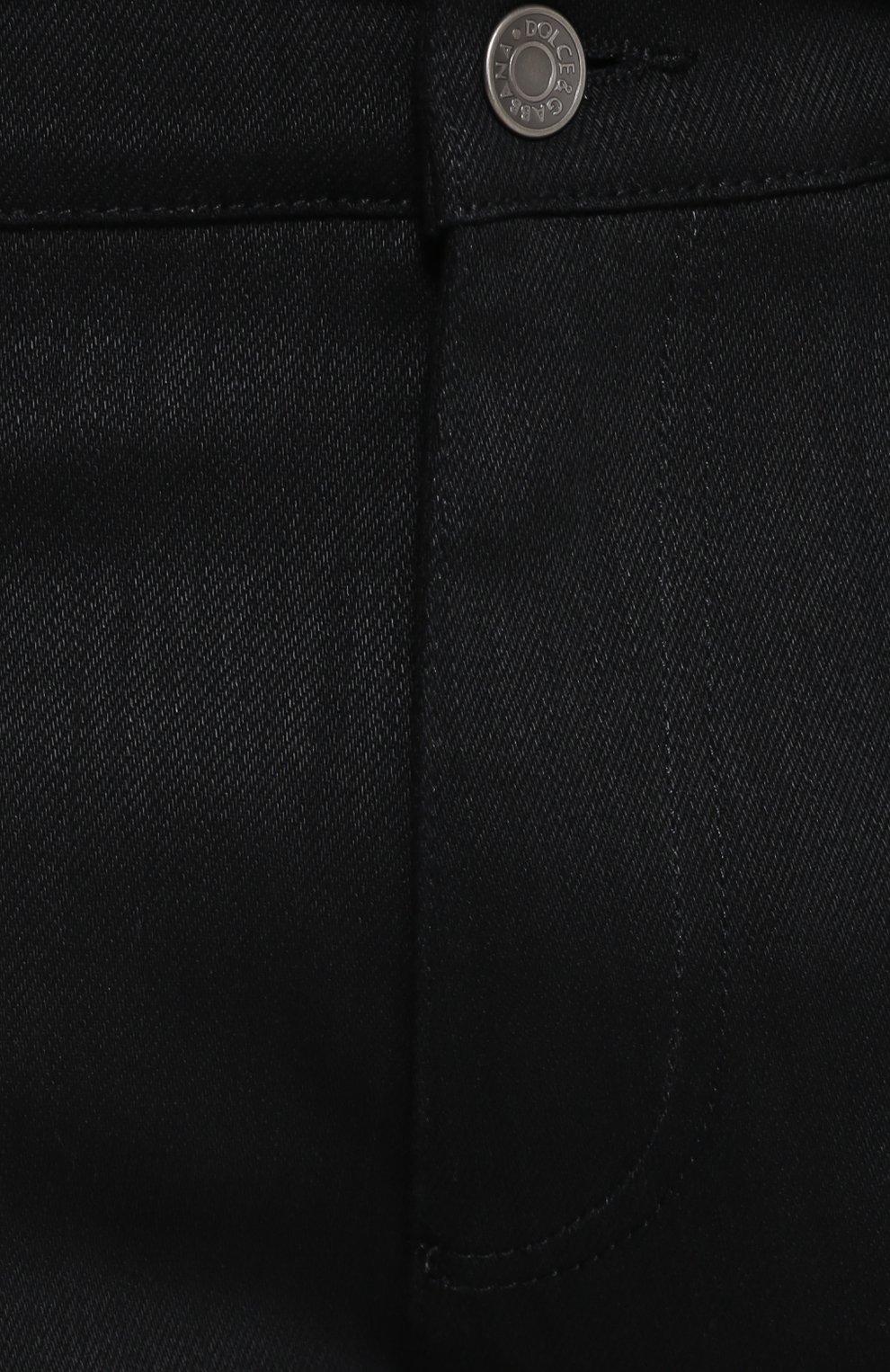 Хлопковые джинсы с заниженной линией шага Dolce & Gabbana черные | Фото №5