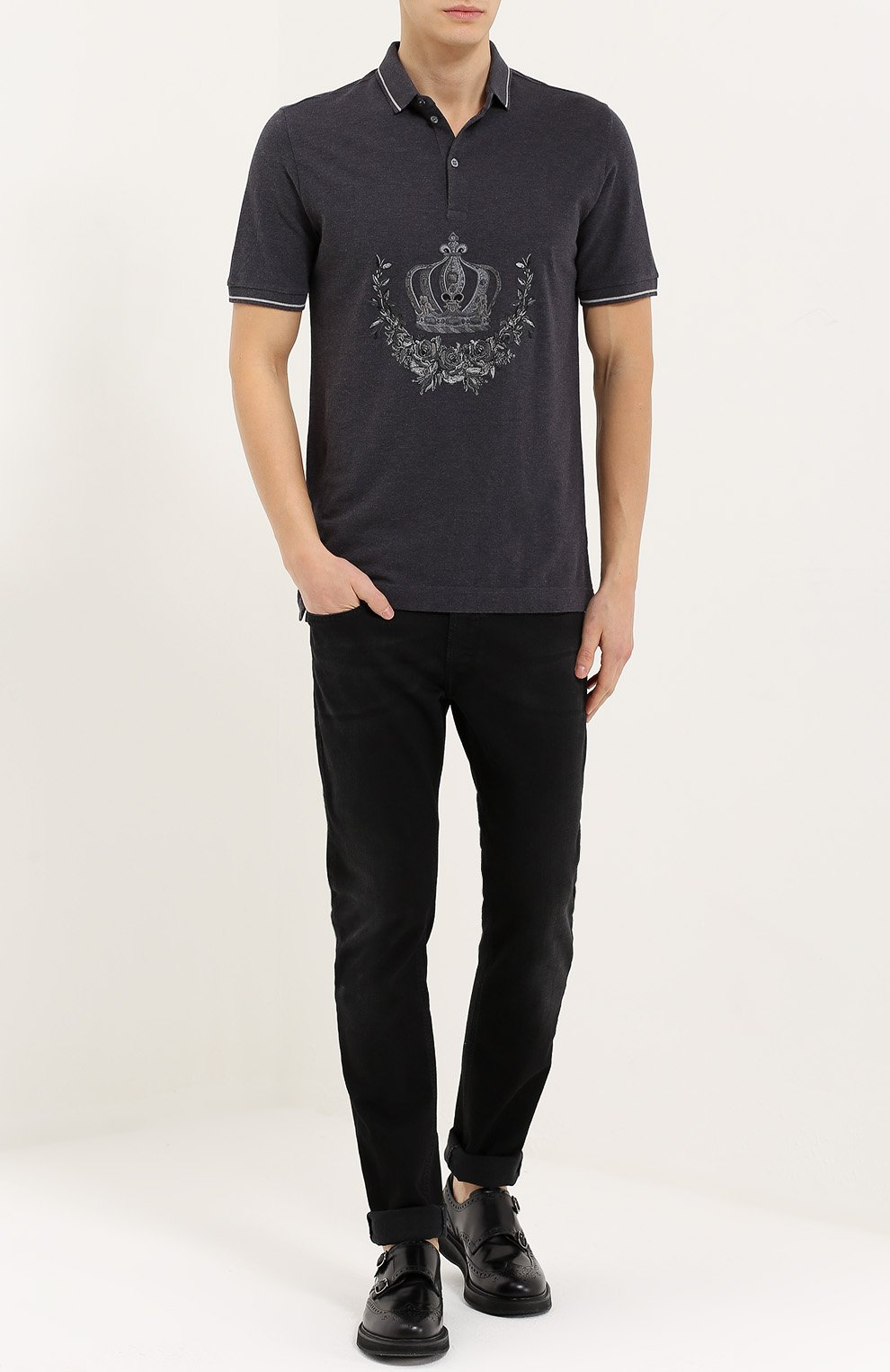 Хлопковое поло с вышивкой Dolce & Gabbana серое | Фото №2