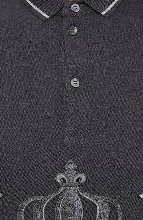Хлопковое поло с вышивкой Dolce & Gabbana серое | Фото №5