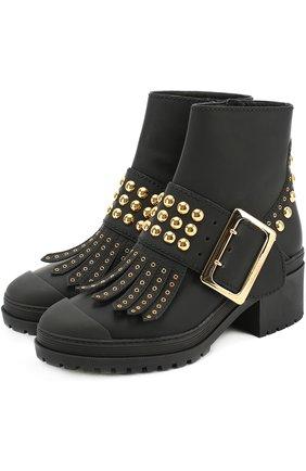 Кожаные ботинки с бахромой и заклепками | Фото №1