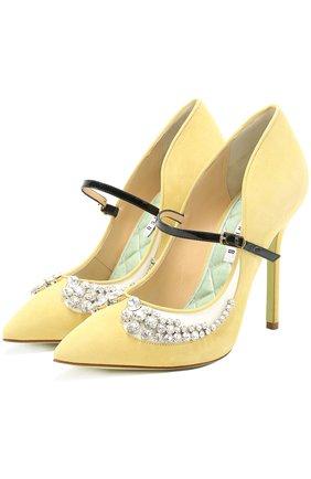 Замшевые туфли Margot 110 с кристаллами | Фото №1