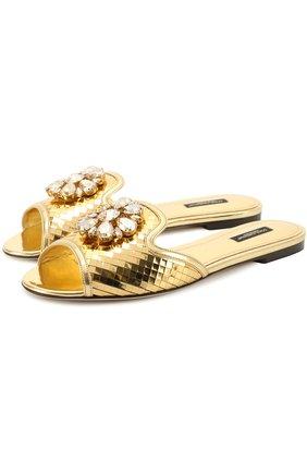 Кружевные шлепанцы Bianca с кристаллами Dolce & Gabbana золотые | Фото №1
