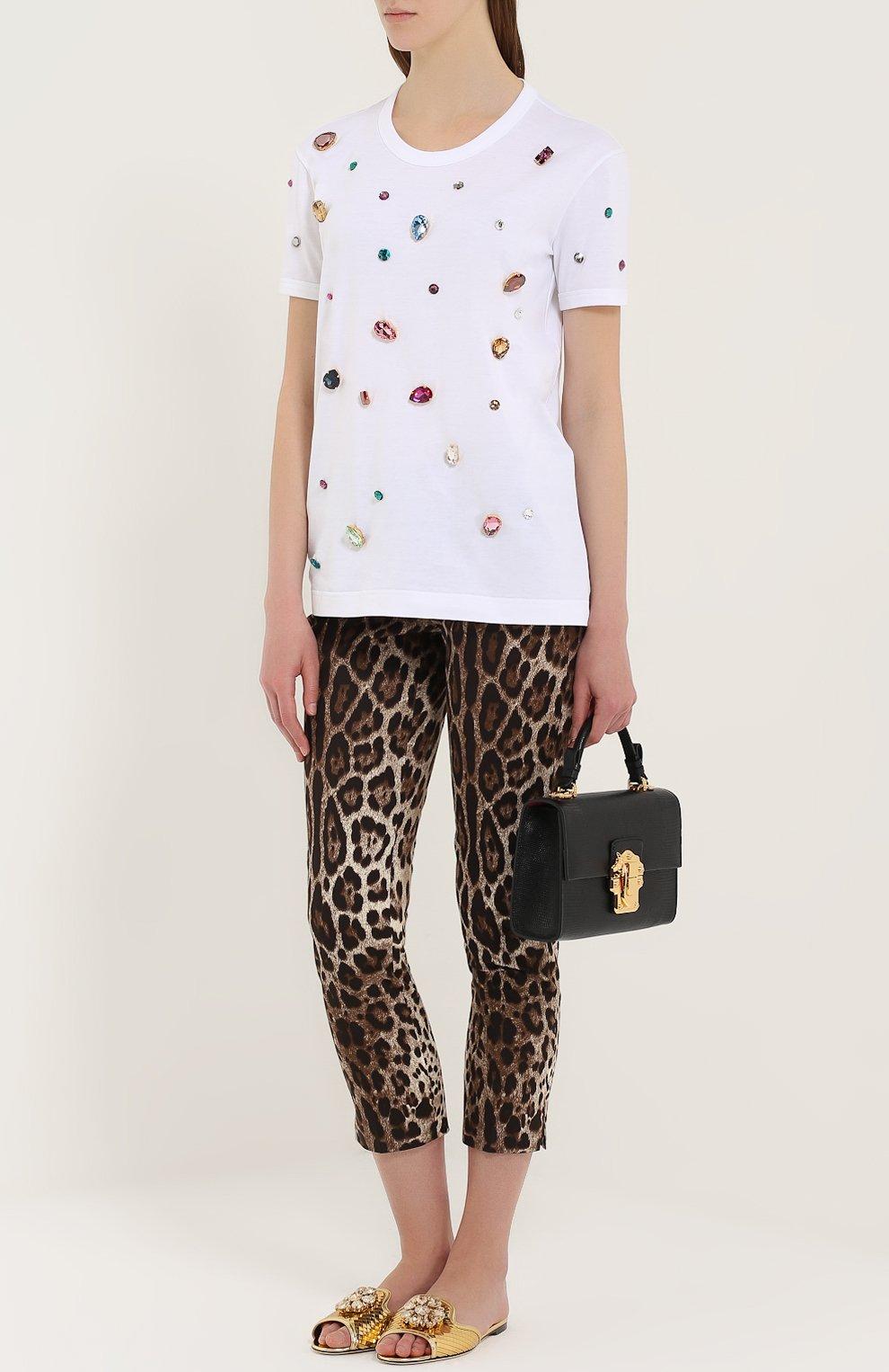 Кружевные шлепанцы Bianca с кристаллами Dolce & Gabbana золотые | Фото №2
