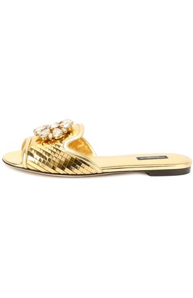 Кружевные шлепанцы Bianca с кристаллами Dolce & Gabbana золотые | Фото №3