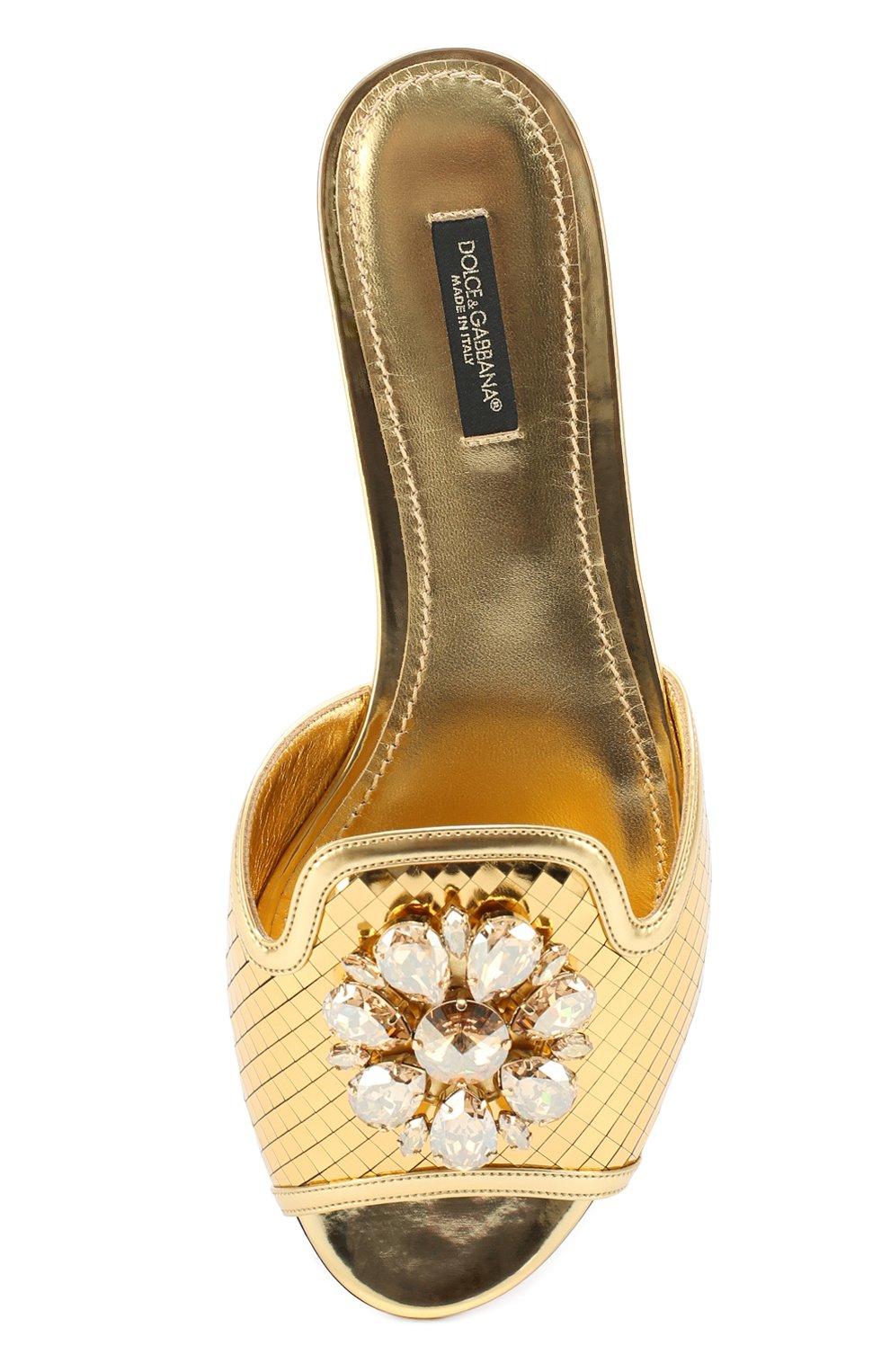 Кружевные шлепанцы Bianca с кристаллами Dolce & Gabbana золотые | Фото №5