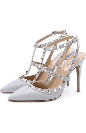 Кожаные туфли Valentino Garavani Rockstud с ремешками | Фото №1