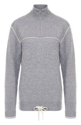 Кашемировый пуловер прямого кроя с воротником на молнии