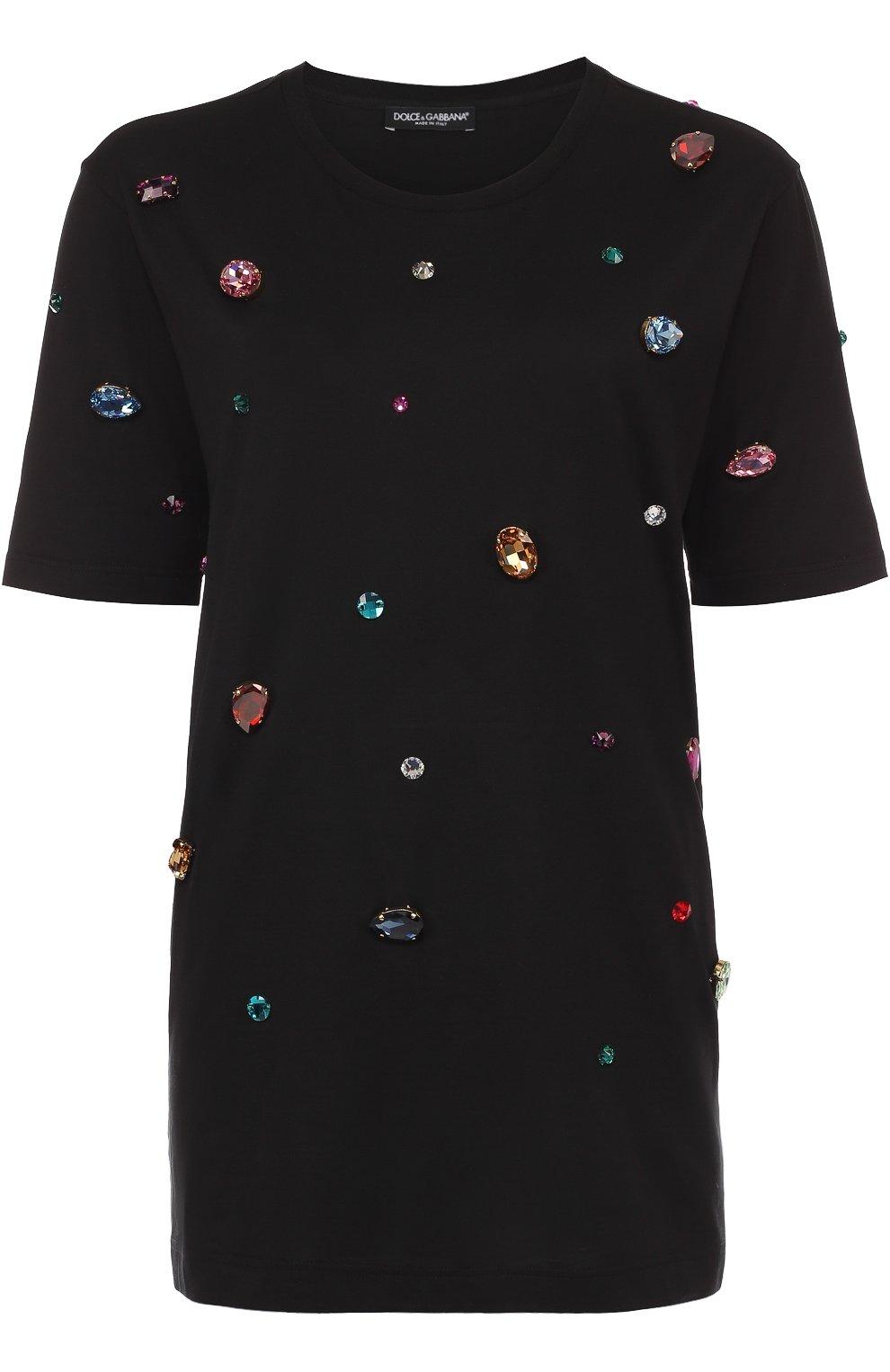 Удлиненная футболка прямого кроя с кристаллами | Фото №1