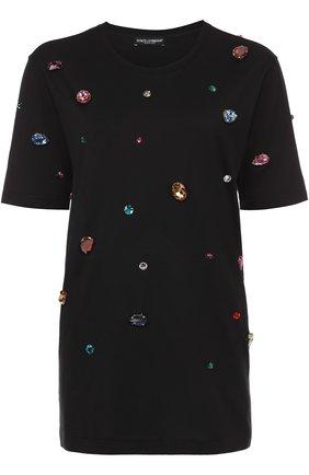Удлиненная футболка прямого кроя с кристаллами Dolce & Gabbana черная | Фото №1