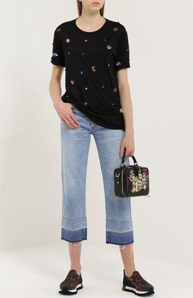Удлиненная футболка прямого кроя с кристаллами Dolce & Gabbana черная | Фото №2