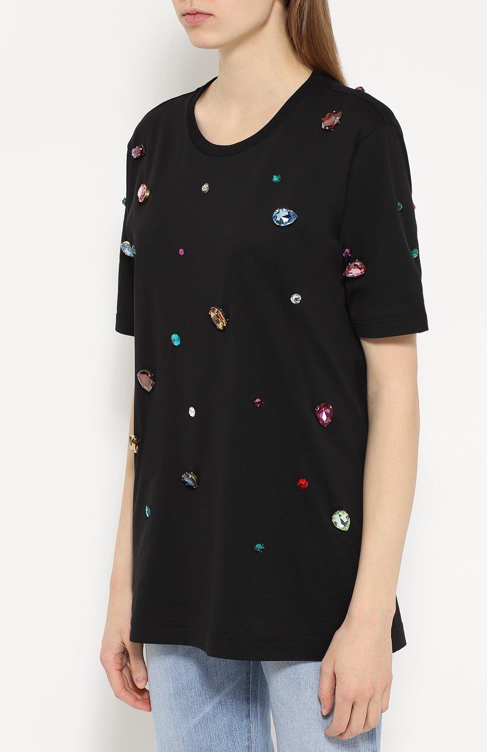 Удлиненная футболка прямого кроя с кристаллами Dolce & Gabbana черная | Фото №3