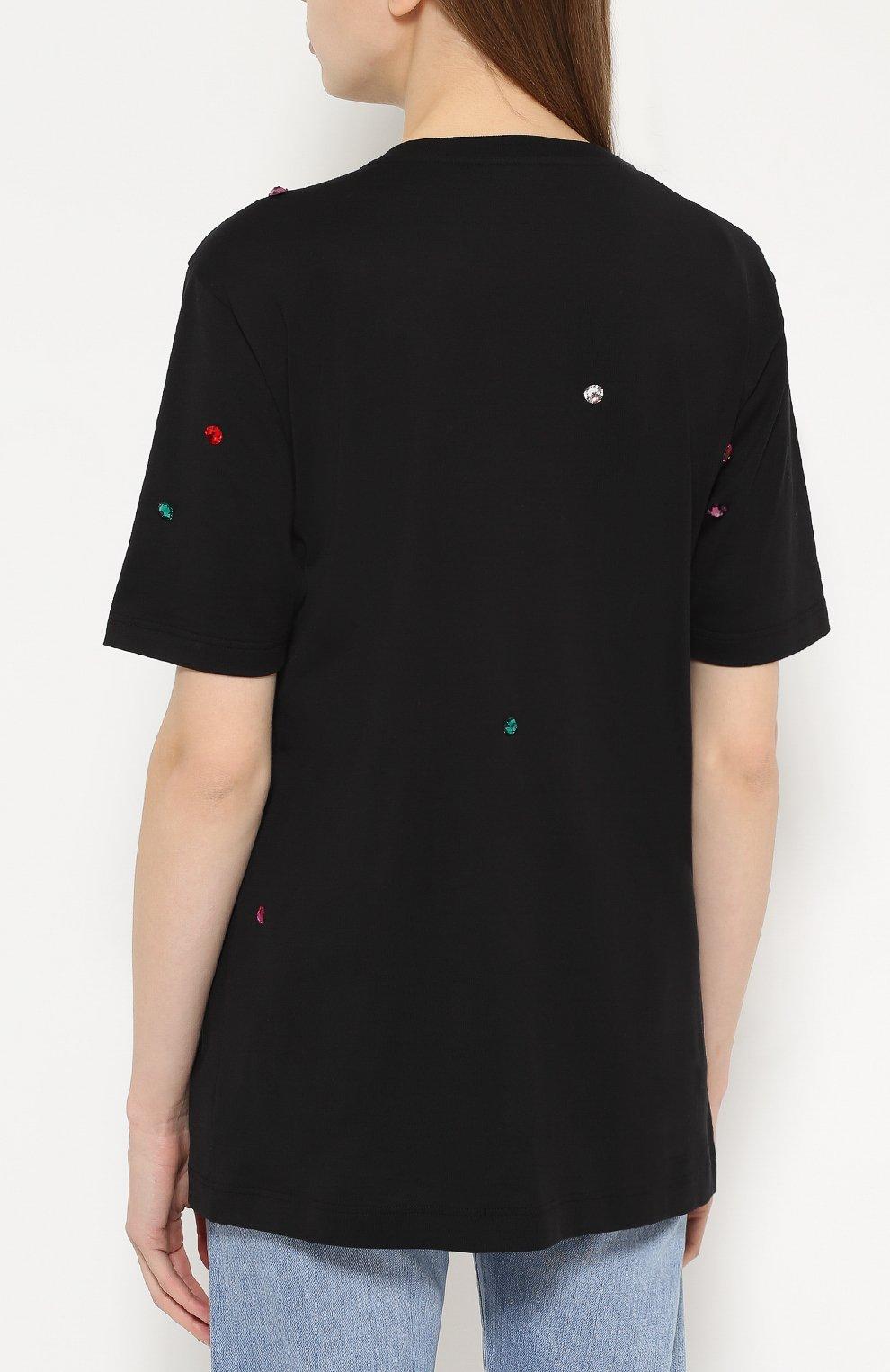 Удлиненная футболка прямого кроя с кристаллами Dolce & Gabbana черная | Фото №4