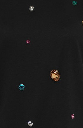 Удлиненная футболка прямого кроя с кристаллами Dolce & Gabbana черная | Фото №5