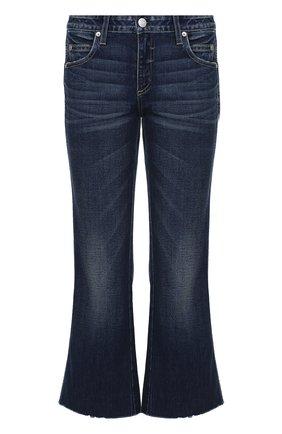 Укороченные расклешенные джинсы с потертостями AMO синие   Фото №1
