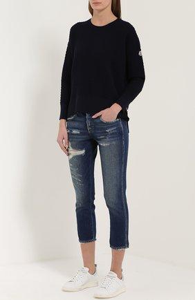 Укороченные джинсы-скинни с потертостями AMO синие   Фото №1
