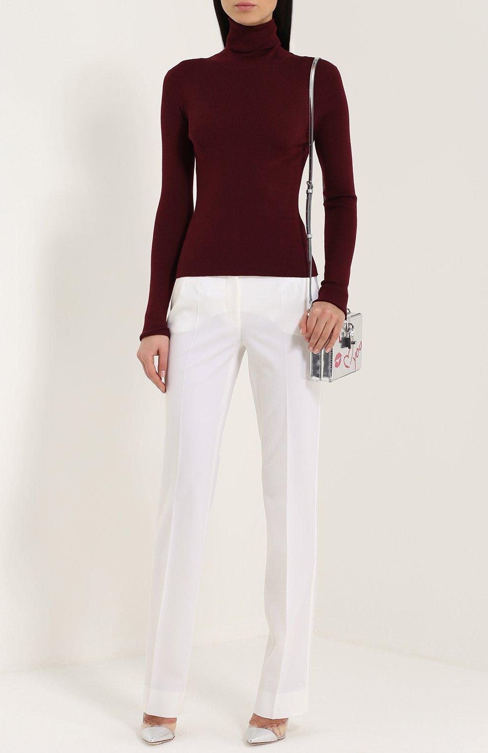 Кашемировая водолазка фактурной вязки Dolce & Gabbana бордовая   Фото №2