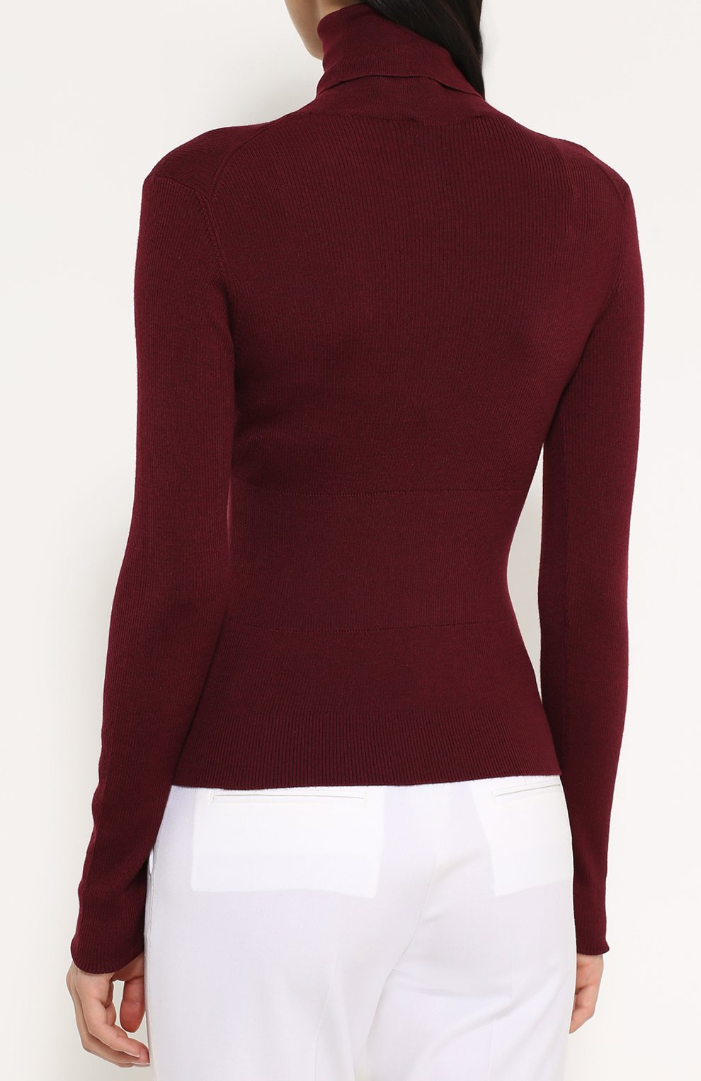Кашемировая водолазка фактурной вязки Dolce & Gabbana бордовая   Фото №4