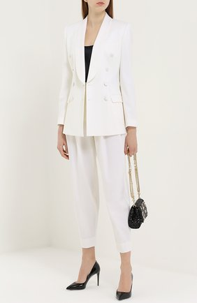 Укороченные брюки-бананы с защипами Dolce & Gabbana белые   Фото №2