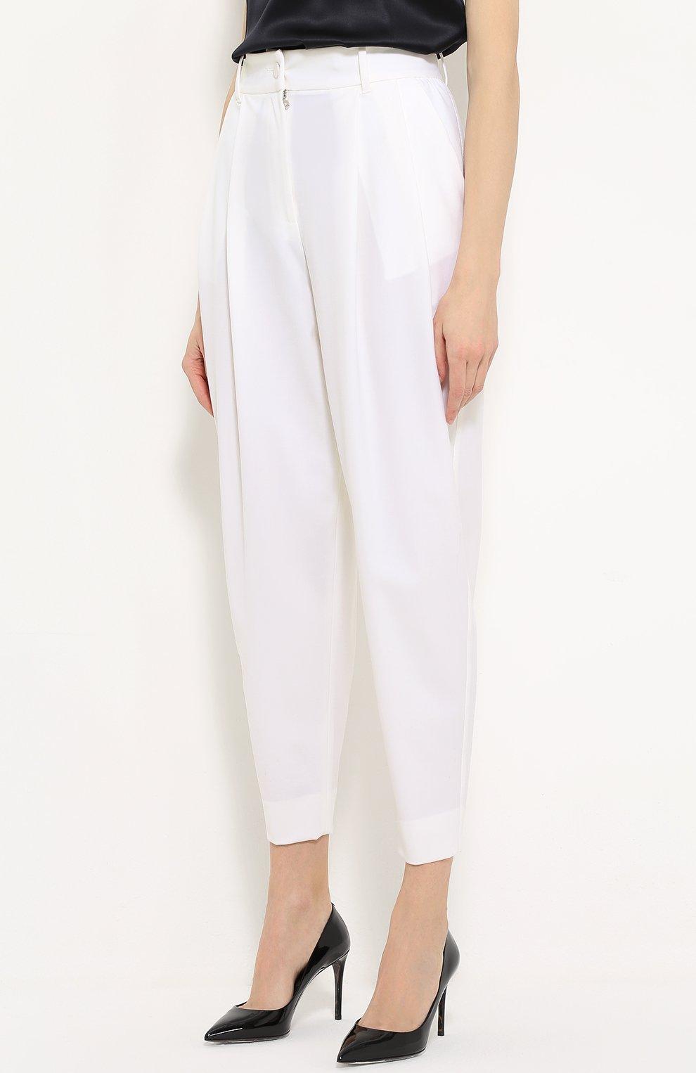 Укороченные брюки-бананы с защипами Dolce & Gabbana белые   Фото №3