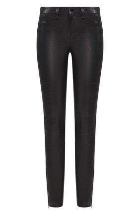 Кожаные брюки-скинни с декоративными молниями   Фото №1