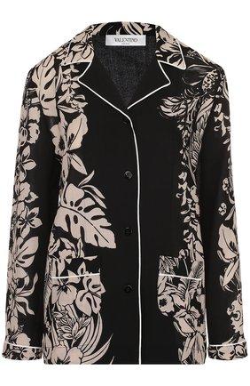 Блуза в пижамном стиле с контрастным принтом   Фото №1