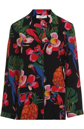 Шелковая блуза с пижамном стиле с ярким принтом   Фото №1