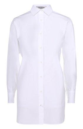 Удлиненная хлопковая блуза прямого кроя