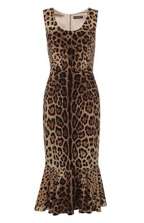 Шелковое платье с юбкой годе и леопардовым принтом   Фото №1