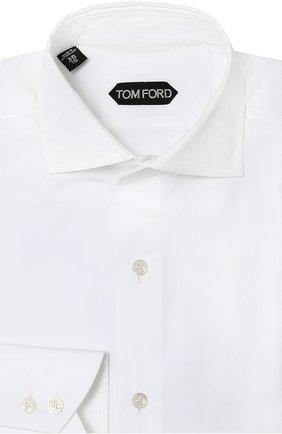 Мужская хлопковая сорочка с воротником акула TOM FORD белого цвета, арт. 6FT00094S3AX | Фото 1