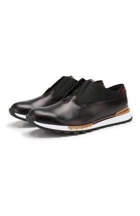Мужские кожаные кроссовки BERLUTI черного цвета, арт. S3875-001 | Фото 1