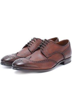 Мужские кожаные дерби с брогированием H`D`S`N BARACCO коричневого цвета, арт. 66206/CERV0 | Фото 1 (Материал внутренний: Натуральная кожа; Статус проверки: Проверена категория; Мужское Кросс-КТ: Броги-обувь; Стили: Классический)