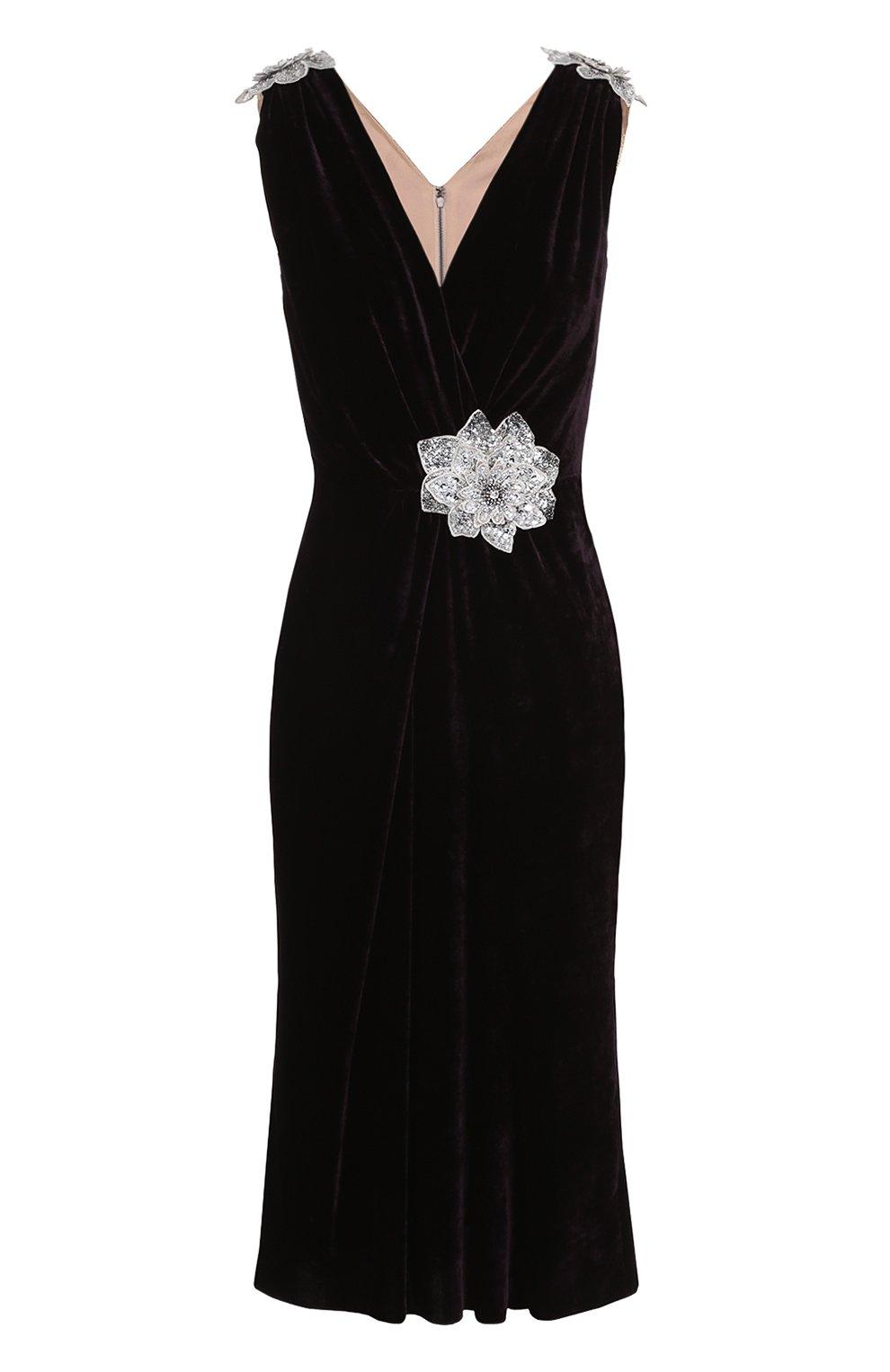 Бархатное платье без рукавов с декоративной отделкой | Фото №1