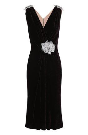 Бархатное платье без рукавов с декоративной отделкой Dolce & Gabbana темно-фиолетовое | Фото №1