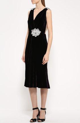 Бархатное платье без рукавов с декоративной отделкой Dolce & Gabbana темно-фиолетовое | Фото №3