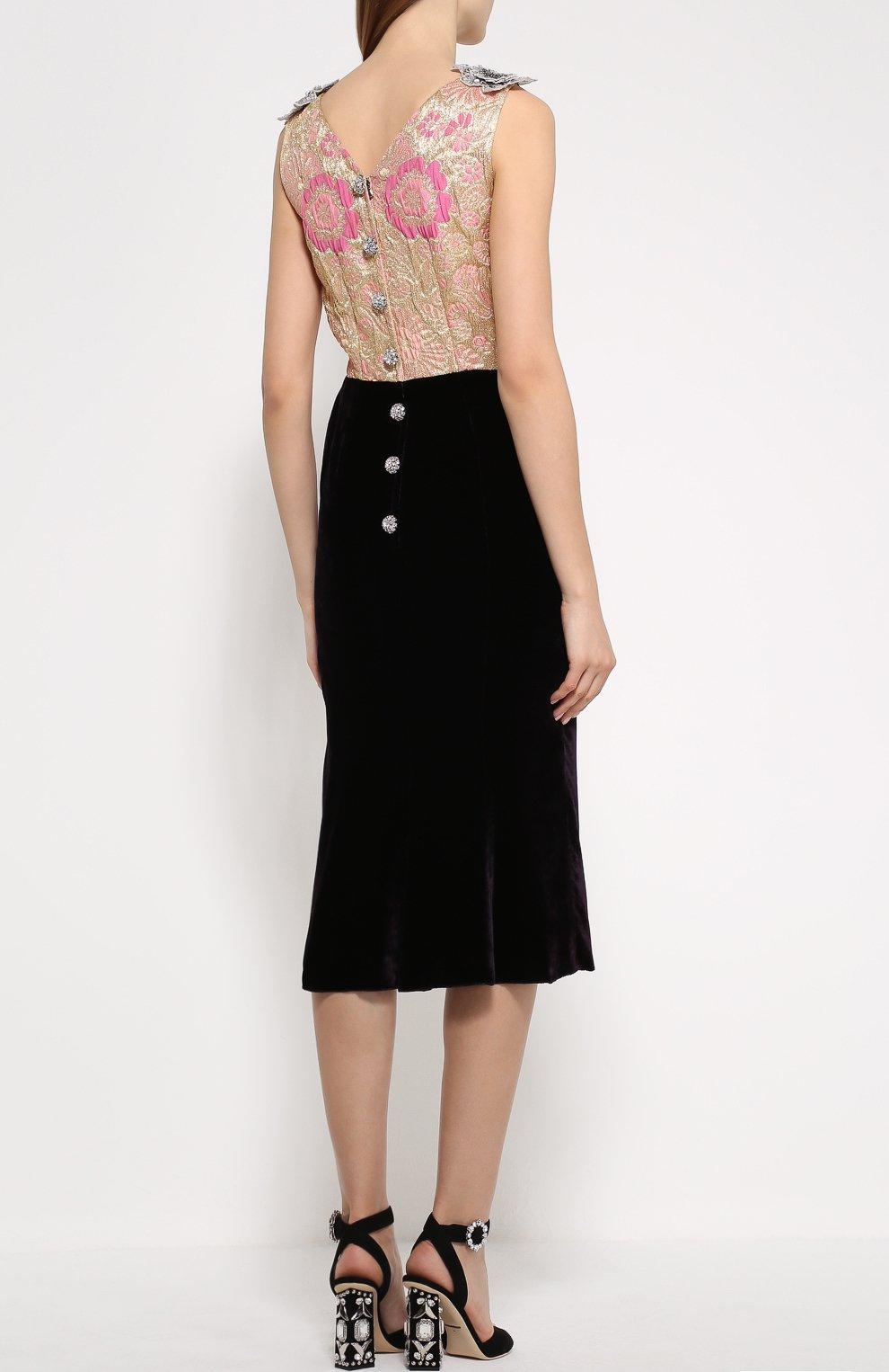 Бархатное платье без рукавов с декоративной отделкой Dolce & Gabbana темно-фиолетовое | Фото №4
