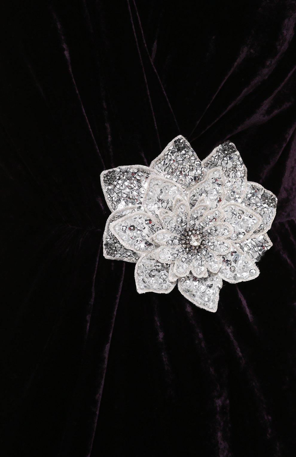 Бархатное платье без рукавов с декоративной отделкой Dolce & Gabbana темно-фиолетовое | Фото №5