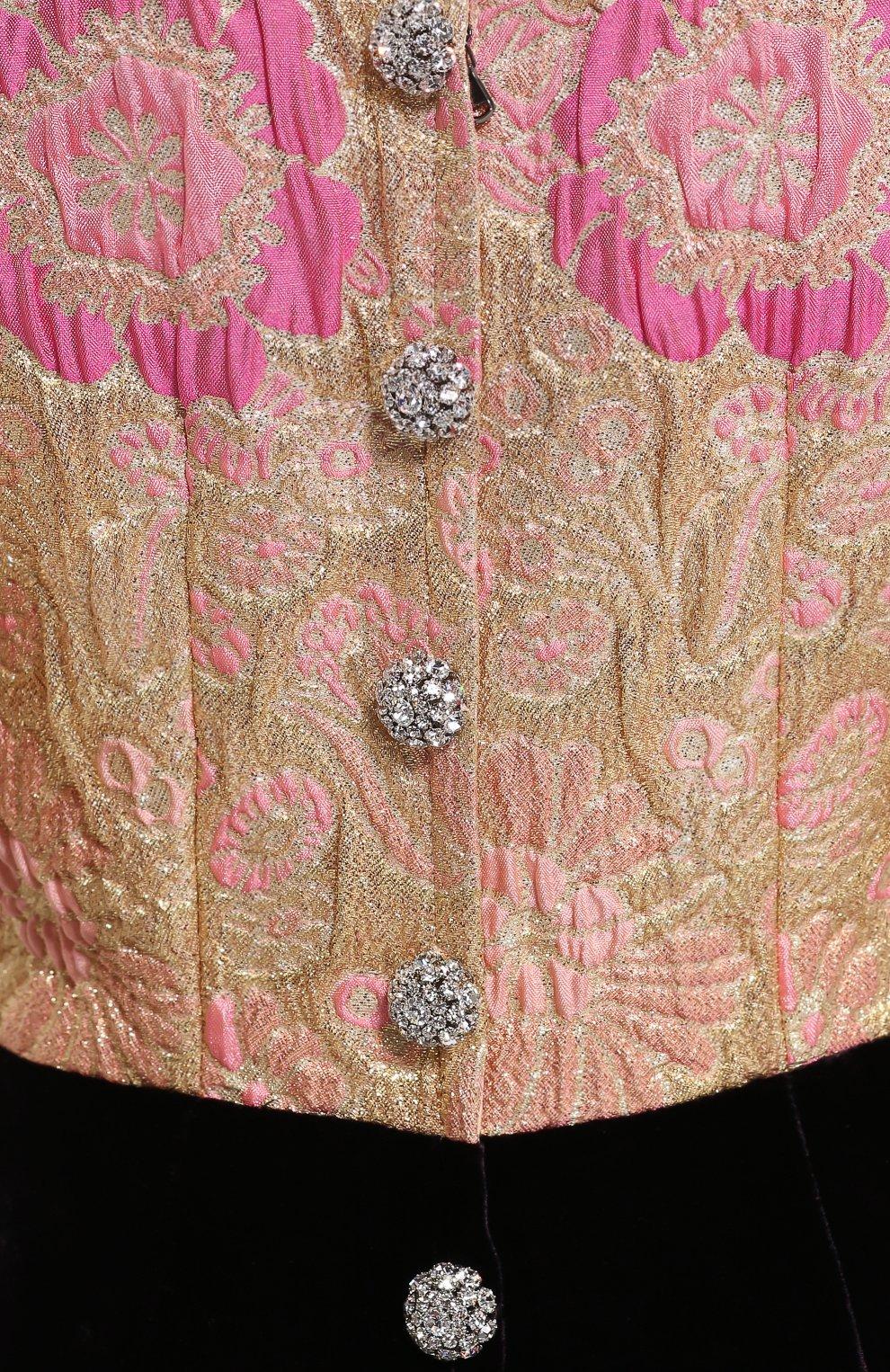 Бархатное платье без рукавов с декоративной отделкой Dolce & Gabbana темно-фиолетовое | Фото №6