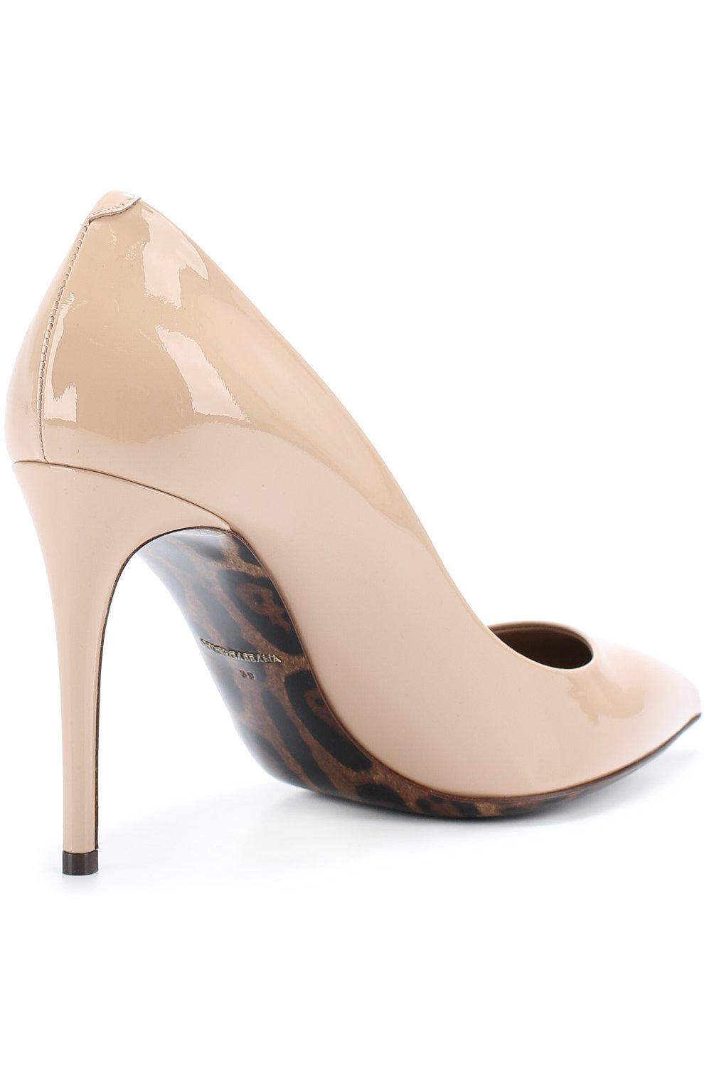 Кожаные туфли Kate Dolce & Gabbana бежевые   Фото №3