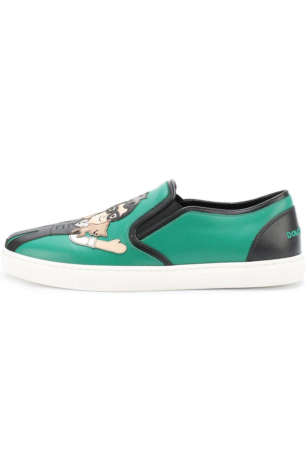 Кожаные слипоны London с аппликациями Dolce & Gabbana зеленые   Фото №2